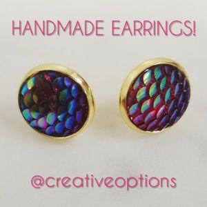 Jewelry - ✴3 for $15 Rose Red Mermaid Scale Stud Earrings